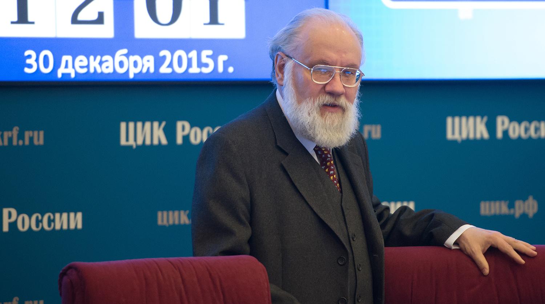 Předseda Ústřední volební komise (CEC) Ruska Vladimir Churov na zasedání Ústřední volební komise Ruské federace v Moskvě.